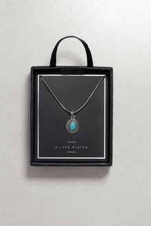 Next Silver Plated Turquoise Stone Necklace