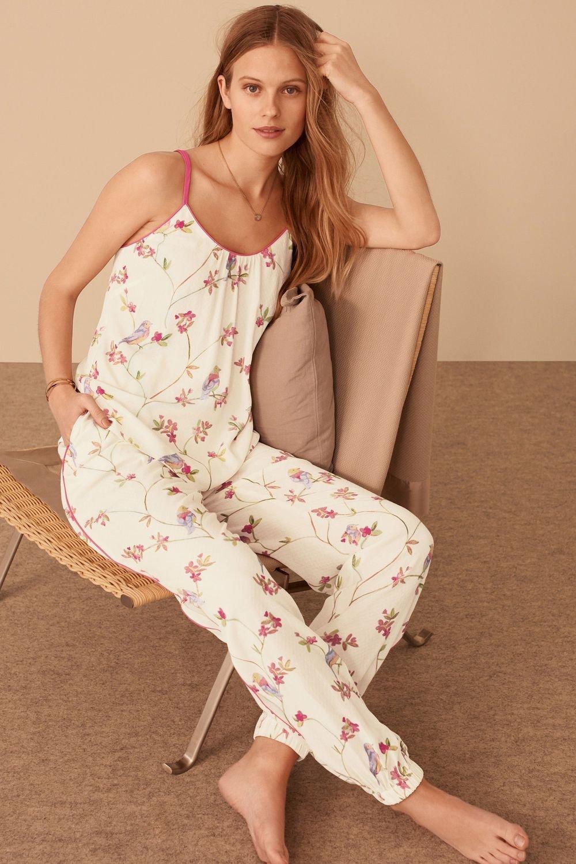 16824268e0 Next Cream Pink Bird Print Woven Pyjamas Online