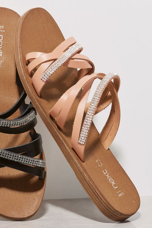 Next Leather Strappy Jewelled Sandals
