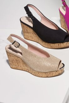 Next Metallic Cork Wedges