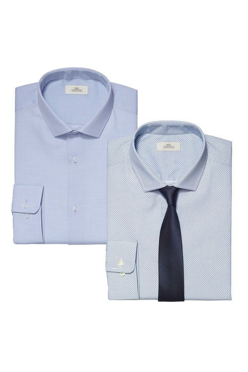 Next Blue Printed And Plain Slim Fit Shirts Two Pack With Tie