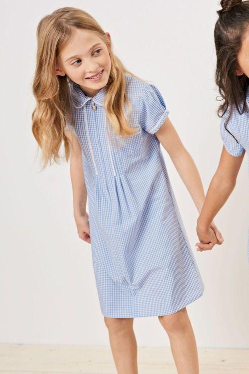 Next Zip Through Lace Detail Gingham Dress (3-14yrs)