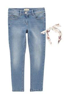 Next Light Blue Skinny Jeans With Headband (3-16yrs)