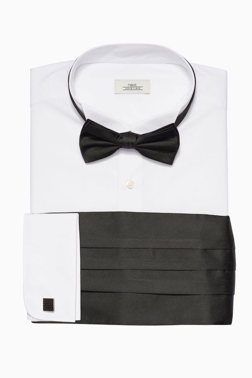 Next Regular Fit Shirt With Bow Tie Cummerbund And Cufflinks