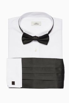 Next Regular Fit Shirt With Bow Tie Cummerbund And Cufflinks - 177645