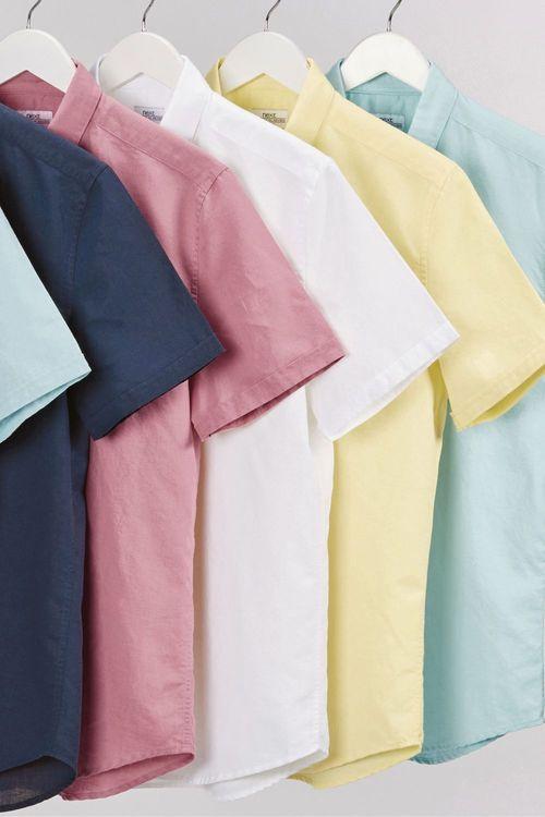 Next Linen Blend Short Sleeve Shirt