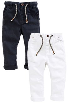 Next Navy/White Linen Rich Trousers Two Pack (3mths-6yrs)