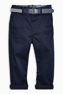 Next Navy Belted Chinos (3mths-6yrs)