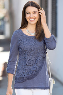 Capture European Lace Overlay Top