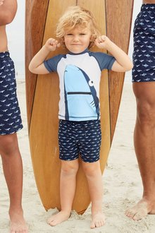 Next Navy Shark Swim Shorts And Vest Two Piece Set (3mths-6yrs)
