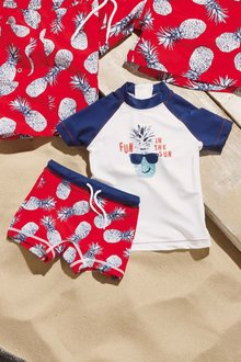 Next Red/White Pineapple Swim Shorts And Vest Two Piece Set (3mths-6yrs)