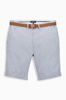 Next Blue Stripe Belted Chino Shorts