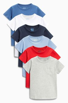 Next Multi Short Sleeve Essential Tops Six Pack (3mths-6yrs)