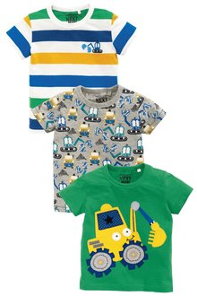 Next Green Short Sleeve Digger T-Shirts Three Pack (3mths-6yrs)