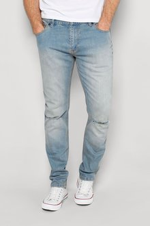 Next Chalk Wash Ripped Knee Jeans With Stretch