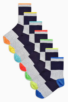 Next Fluro Rugby Stripe Socks Seven Pack (Older Boys)