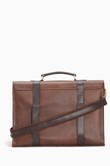 Next Brown Signature Leather Briefcase