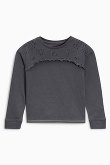 Next Charcoal Broderie Sweat (3-16yrs)