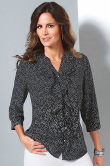 Capture European Spot Ruffle Shirt