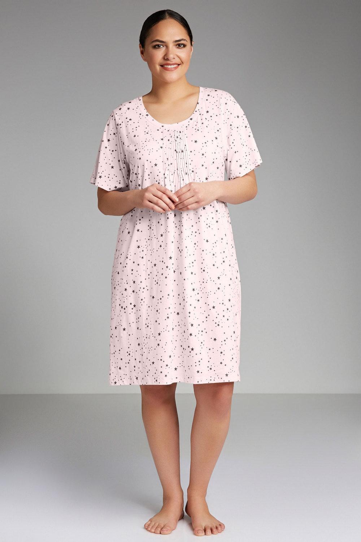 Plus Size - Sara Short Sleeve Pintucked Nightie de3ceec54
