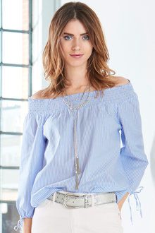 Urban Striped Bardot Top