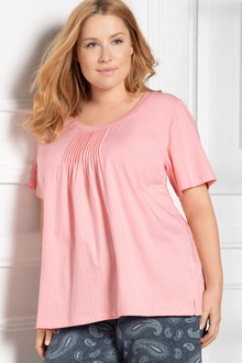 Plus Size - Sara Short Sleeve Pintucked Tee
