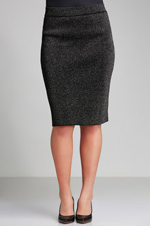 Plus Size - Sara Metallic Midi Skirt