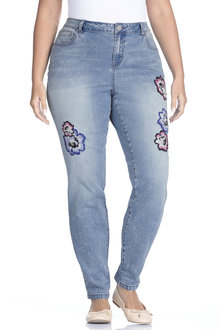 Plus Size - Sara Embroidered Flower Jean