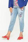 Plus Size - Sara Embroidered Flower Jean
