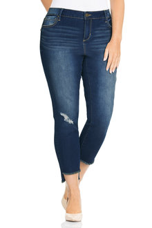 Plus Size - Sara Distressed Step Hem Jean