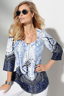 Capture European Printed Satin Tunic