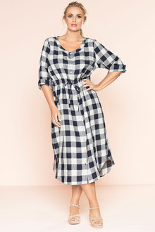 Plus Size - Sara Linen Shirt Dress