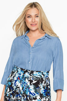 Plus Size - Sara Lyocell Denim Shirt