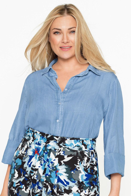 d2b470f219b08 Plus Size - Sara Lyocell Denim Shirt