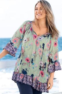 Plus Size - Sara Ruffle Hem Tunic