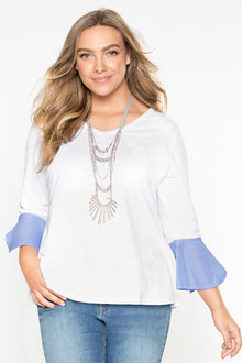 Plus Size - Sara Cuff Detail Top