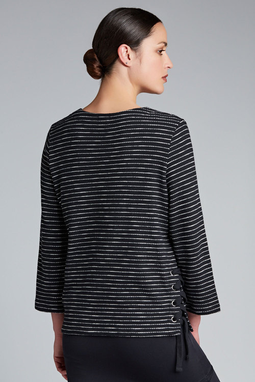 Emerge Stripe Lace Up Sweat