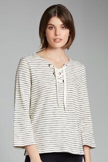 Emerge Stripe Eyelet Sweat