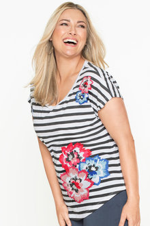 Plus Size - Sara Printed Stripe Tee