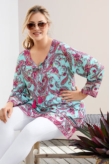 Plus Size - Sara Embroidered Trim Tunic