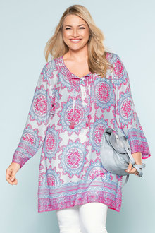 Plus Size - Sara Embroidered Trim Tunic