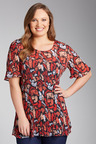 Plus Size - Sara Printed Pleated Top