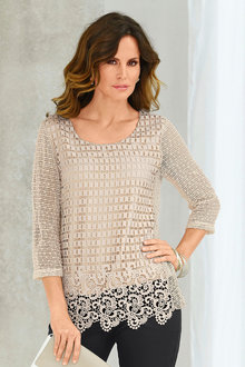 Capture European 3/4 Sleeve Lace Top