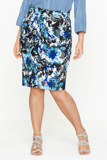 Plus Size - Sara Stretch Midi Skirt