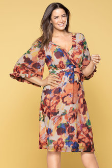 Plus Size - Sara Romantic Fluted Sleeve Dress