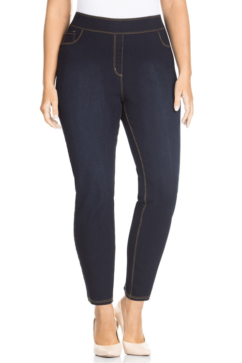 Plus Size - Sara Elastic Waist Slim Leg 7/8 Jean