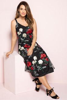 Plus Size - Sara Embroidered Slip Dress