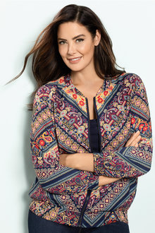 Plus Size - Sara Printed Bomber Jacket