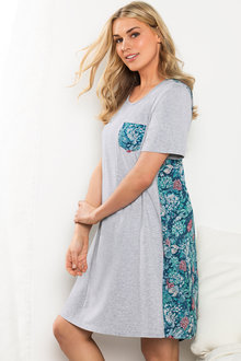 Plus Size - Sara Woven Back Printed Nightie