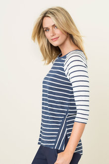 Capture Mixed Stripe Linen Tee